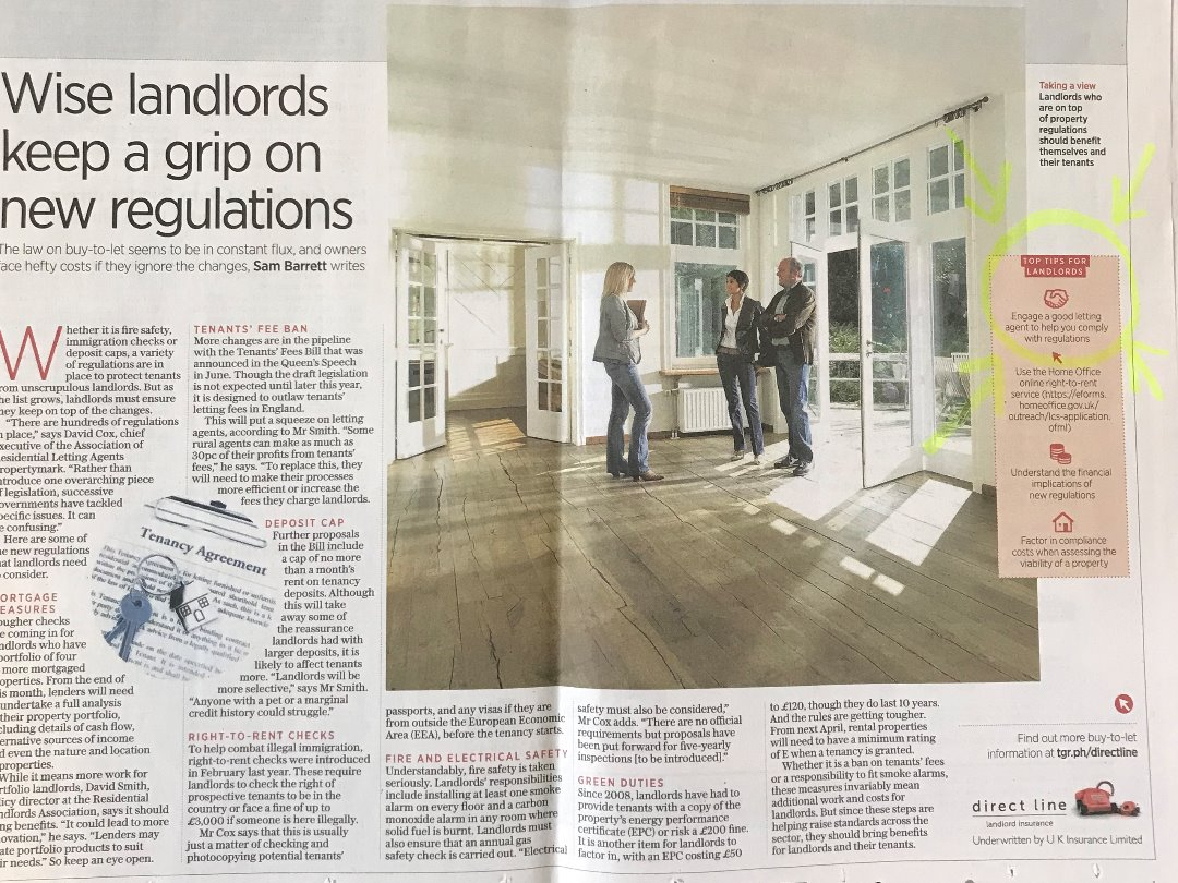 Direct Line Advert in the Sunday Times - BTL Landlords should use a Good Letting Agent with Industry Accreditations -